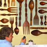 Wooden spoons make colorful decoration. (Check your e-mail.)