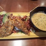 Club salad & almond crusted chicken skewers + corn chowder soup