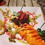 Main dish - magret de oie with sweet potatoes, cucumber and radishes