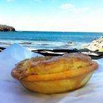 Eating Hayden's Pie's by Ulladulla Harbour