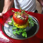 Crab stuffed tomato
