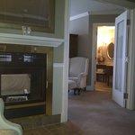 Fireplace and bathroom