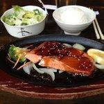 Salmon teriyaki entree at Little Tokyo