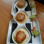 Sea Cake Trio – crab with Cajun bisque, salmon with caper aioli & shrimp with soy crème fraiche