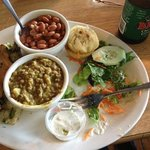 veggie plate with lentil curry soup