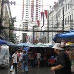 Market on the street outside entrance - Baiyoke Sky Hotel