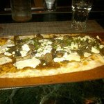 Goat cheese and something flatbread - yum!