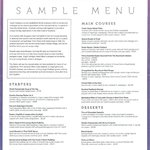 Bistro Sample Menu