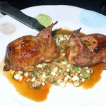 Quail with roasted corn is a must have!