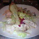 antipasto tris di pesce con insalatina