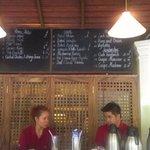 Open air restaurant counter with breakfast menu