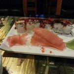 Dragon roll with sashimi salmon