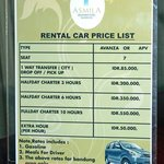car rental list Asmila Hotel Bandung