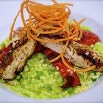 Pea Rissotto with Chicken