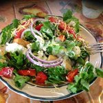 My substitute salad instead of fries!!  It was huge and the dressing was loaded with chunks of b