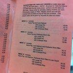 Helena's menu right