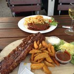 Spare ribs and schnitzel