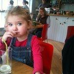 Little one loving her lemonade