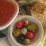 Vegetarian Flatbread, Little Olive Bowl, Tomato Basil Asiago Soup