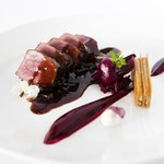 Grilled Cervena venison, beetroot, cashew cream, mushrooms & wild rice, chicken liver mille feui