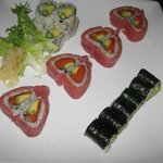avacado roll, veggie roll and valentine roll