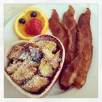Stuffed french toast and perfectly cooked bacon!