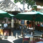 The outdoor dining area of Bali Deli