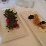 brasaola and arugula and cheese w/ biscuit and prunes