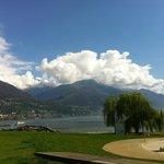 View from pool side onto Locarno/Lago Maggiore