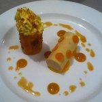 mousseline de fomage blanc, mangue et cacahuete
