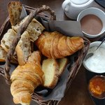 yummy french bread, croissant and cake