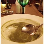 The best fresh asparagus soup I ever had.