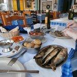 sardines with salad and potatoes