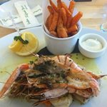 mixed fish grill with sweet potato fries