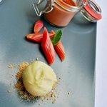 Strawberry créme brulée, marinated rhubarb and asparagus sorbet