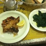 veal chop and spinach