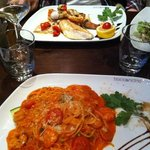 Main course pasta (front) and incredible fresh fish platter (back)