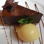 DARK CHOCOLATE TORTA, ORANGE SORBETTA