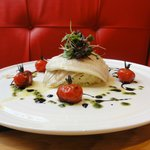 GRILLED FILLETS OF CORNISH LEMON SOLE, CRUSHED POTATOES WITH MASCARPONE AND CHIVES,  BALSAMIC RO