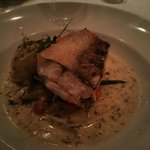 perch pike with Swedish potato cake, asparagus, carrot & bean in creamy fill sauce