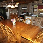 Dining room and kitchen in large cabin