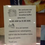 Sign does not take into consideration a full breakfast area!