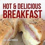 best breakfast sandwich ever and apple fritter for dessert!