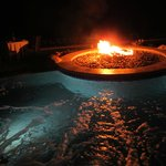 Firepit in the jacuzzi—how cool is that?