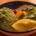 Green tea ice cream (part of bento box)