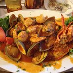 seafood mariscos with brown sauce