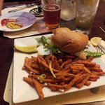 Turkey burger with sweet potato fries- yummy