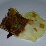 Royal Pigeon, Spring Cabbage, friuts and Vegetables chutney.