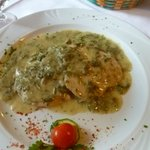 Heavenly veal with greens/sauce