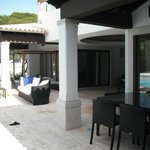 Patio outside the villa next to the pool